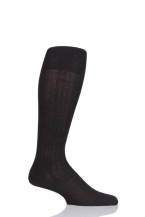 Mens 1 Pair Falke Milano 97% Cotton Knee High Socks Brown 45-46