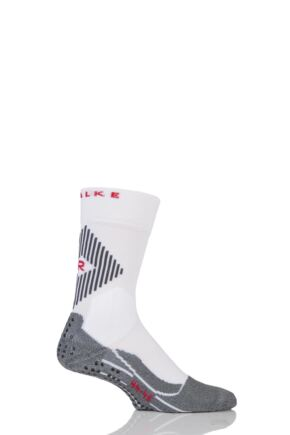 Mens 1 Pair Falke Low Compression 4 Grip Football and Sports Socks White 42-43
