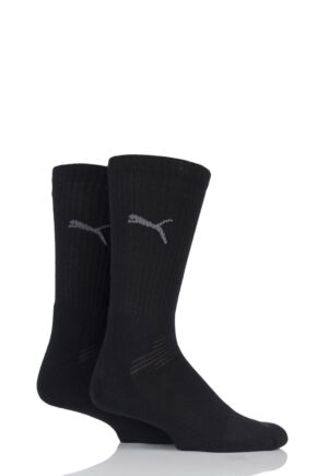 Mens and Ladies 2 Pair Puma Multi Sport Crew Socks Black 9-11