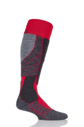 Mens 1 Pair Falke Medium Volume Wool Ski Socks Red 46-48