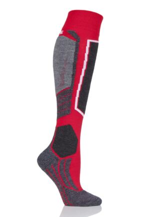 Ladies 1 Pair Falke Medium Volume Wool Ski Socks Red 35-36