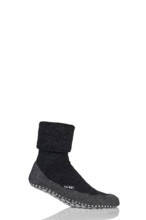 Mens 1 Pair Falke Cosyshoe Virgin Wool Home Socks Anthracite 43-44