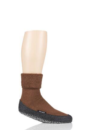 Mens 1 Pair Falke Cosyshoe Virgin Wool Home Socks Caramel 8.5-9.5 Mens