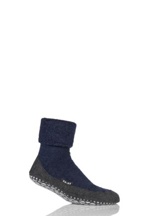Mens 1 Pair Falke Cosyshoe Virgin Wool Home Socks Navy 45-46