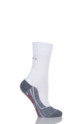 Ladies 1 Pair Falke Light Volume Ergonomic Cushioned Crew Running Socks White / Grey 37-38