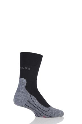 Mens 1 Pair Falke Light Volume Ergonomic Cushioned Crew Running Socks Black / Grey 42-43