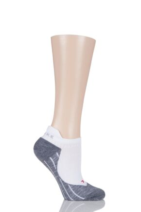 Ladies 1 Pair Falke Light Volume Ergonomic Cushioned Invisible Running Socks White / Grey 37-38