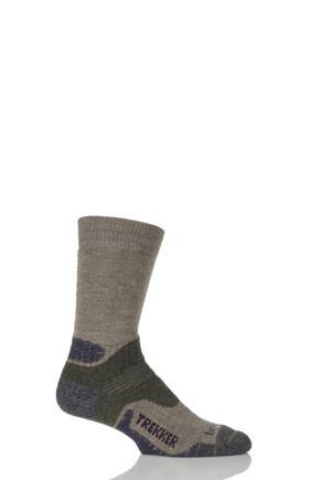 Mens 1 Pair Bridgedale Endurance Trekker Socks For Extended Trekking and Hiking Green M