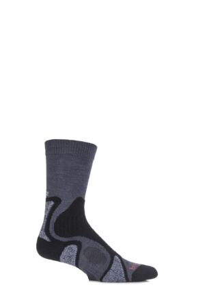 Mens 1 Pair Bridgedale X-Hale Trailblaze Socks With Impact And Protective Padding Gunmetal L