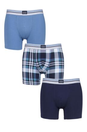 Mens 3 Pack Jockey Blue Check and Plain Cotton Stretch Boxer Trunks
