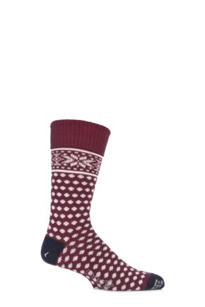 Mens 1 Pair Corgi 80% Wool All Over Fair Isle Socks 50% OFF Burgundy 7-9