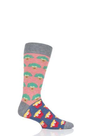1 Pair Moustard Broccoli Vs Fries Cotton Socks