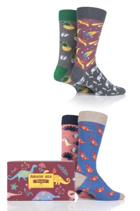 4 Pair Moustard Jurassic Box Gift Boxed Cotton Socks