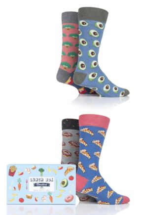 4 Pair Lunch Box Gift Boxed Cotton Socks Unisex - Moustard