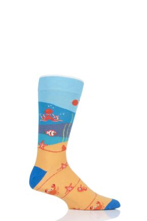 Mens and Ladies 1 Pair Moustard Sea Life Collection Coral Life Cotton Socks