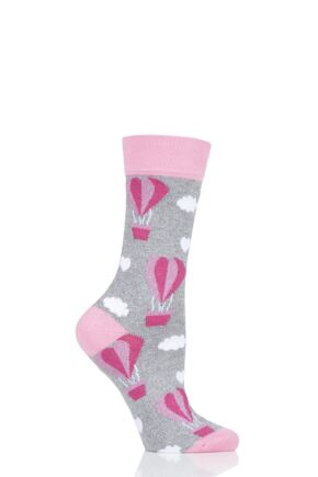 Mens and Ladies 1 Pair Moustard Love Is In The Air Balloon Cotton Socks