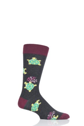 Mens and Ladies 1 Pair Moustard Sea Life Collection Sea Turtle Cotton Socks
