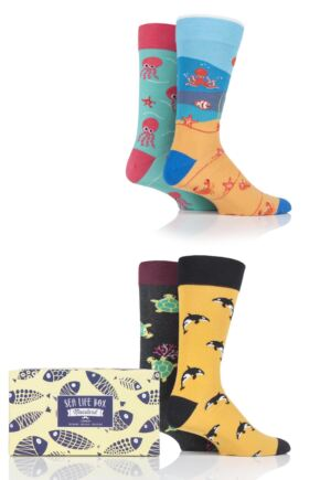 Mens and Ladies 4 Pair Moustard Sea Life Collection Gift Boxed Cotton Socks