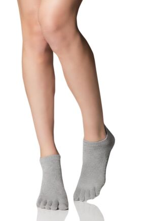 Mens and Ladies 1 Pair ToeSox Full Toe Organic Cotton Low Rise Yoga Socks