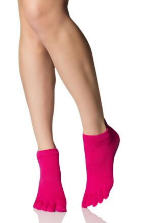 Ladies 1 Pair ToeSox Full Toe Organic Cotton Low Rise Yoga Socks In Fuchsia Fuchsia 6-8.5