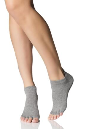Mens and Ladies 1 Pair ToeSox Half Toe Organic Cotton Low Rise Yoga Socks Heather Grey 6-8.5