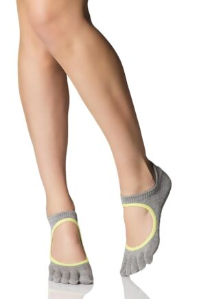 Ladies 1 Pair ToeSox Bellarina Full Toe Organic Cotton Open Front Yoga Socks In Heather Grey Heather Grey / Lime 3.5-5