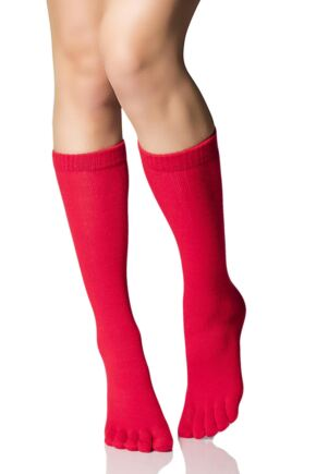 Ladies 1 Pair Elle Glitter Snowflake Toe Socks Red