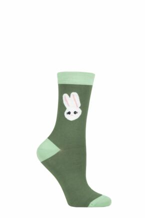 Ladies 1 Pair Lulu Guinness Charlotte Mei Rabbit Socks Green 4-8 Ladies