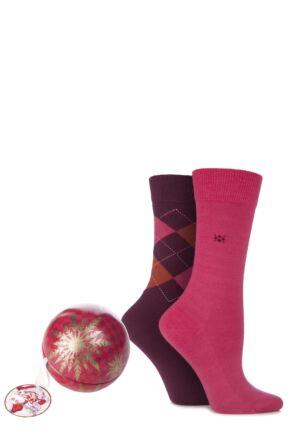 Ladies 2 Pair Burlington Christmas Bauble with Argyle and Plain Virgin Wool Socks