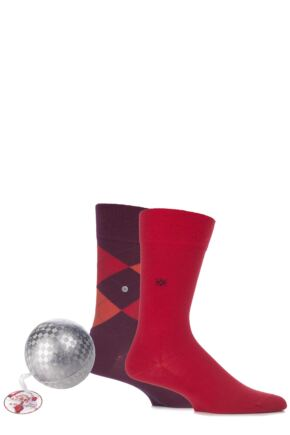 Mens 2 Pair Burlington Christmas Bauble with Argyle and Plain Virgin Wool Socks Bordeaux
