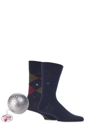 Mens 2 Pair Burlington Christmas Bauble with Argyle and Plain Virgin Wool Socks Navy