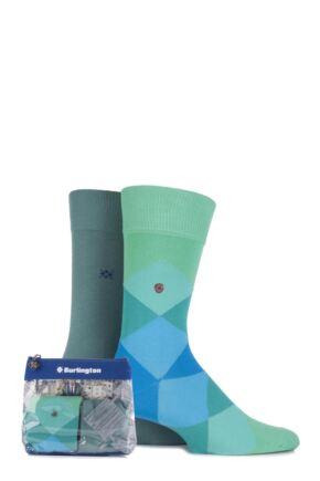 Mens 2 Pair Burlington Gift Bagged Clyde Argyle and Dublin Plain Cotton Socks 25% OFF Green 40-46