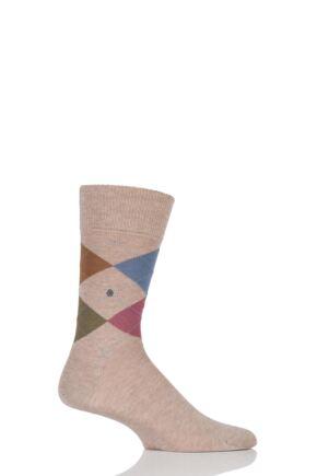 Mens 1 Pair Burlington Manchester 4 Way Argyle Cotton Socks