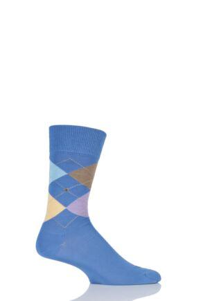 Mens 1 Pair Burlington Manchester 4 Way Argyle Cotton Socks Blue Multi 40-46