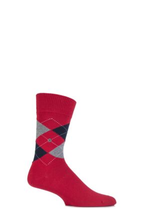 Mens 1 Pair Burlington Manchester Argyle Cotton Socks Coral Red 40-46