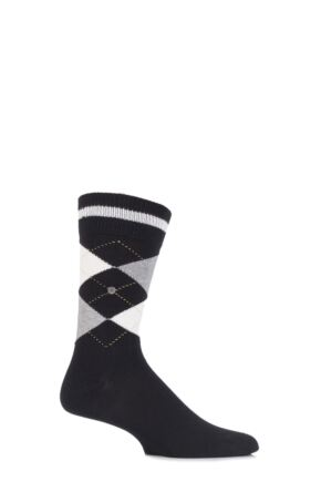 Mens 1 Pair Burlington Norfolk Cotton Mix Argyle Socks Black / Cream 40-46