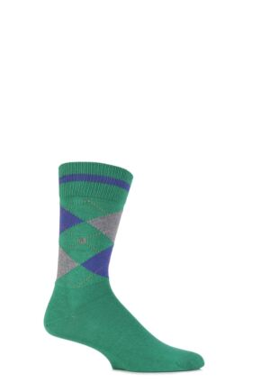 Mens 1 Pair Burlington Norfolk Cotton Mix Argyle Socks Vivid Green 40-46