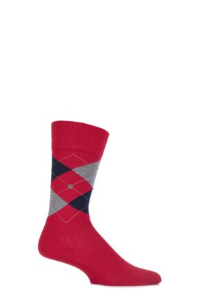 Mens 1 Pair Burlington Norfolk Cotton Mix Argyle Socks Vermillion Red 40-46