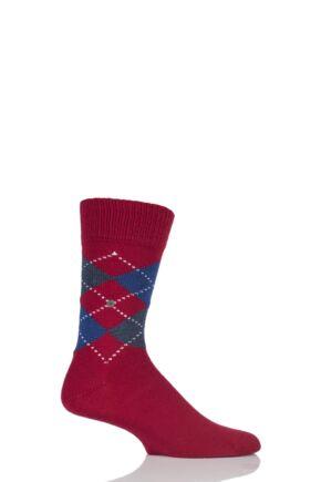 Mens 1 Pair Burlington Dundee Wool Argyle Socks Red / Blue 40-46