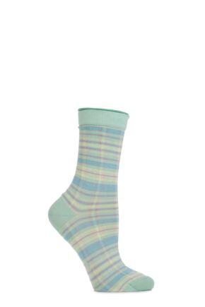 Ladies 1 Pair Burlington Multi Coloured Check Cotton Socks Green 36-41