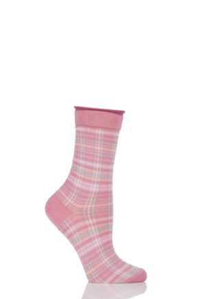 Ladies 1 Pair Burlington Multi Coloured Check Cotton Socks Pink 36-41