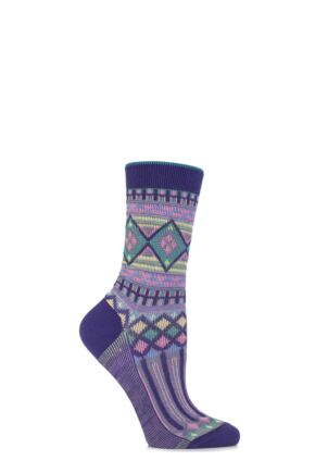 Ladies 1 Pair Burlington Cotton Ethno Aztec Patterned Socks 25% OFF Purple 36-41