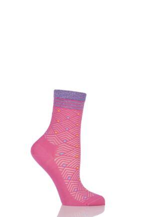 Ladies 1 Pair Burlington Filet Diamond Ribbed Cotton Short Socks with Lurex Top