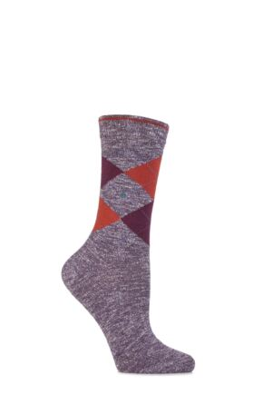 Ladies 1 Pair Burlington Avebury Cotton and Linen Blend Argyle Socks 25% OFF Deep Purple 36-41