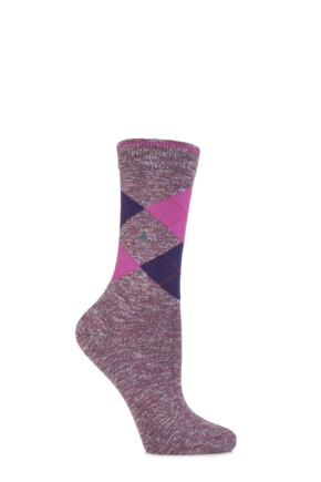 Ladies 1 Pair Burlington Avebury Cotton and Linen Blend Argyle Socks 25% OFF Deep Red 36-41