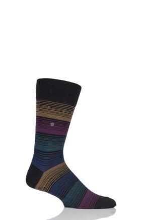 Mens 1 Pair Burlington Prism Fine Stripe Cotton Socks Black 40-46