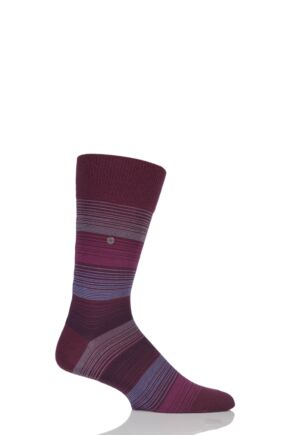 Mens 1 Pair Burlington Prism Fine Stripe Cotton Socks Red 40-46