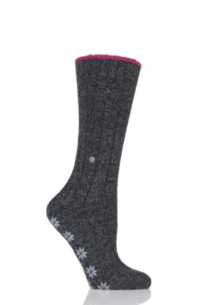Ladies 1 Pair Burlington Wool Blend Comfy Homepad Slipper Socks Dark Grey 39-42