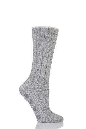 Ladies 1 Pair Burlington Wool Blend Comfy Homepad Slipper Socks Light Grey 39-42