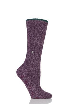 Ladies 1 Pair Burlington Wool Blend Comfy Homepad Slipper Socks